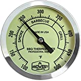 Midwest Hearth BBQ Smoker Thermometer for Barbecue Grill, Pit, Barrel 3″ Dial (4″ Stem Length, Glow Dial) For Sale