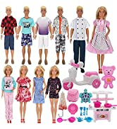 EuTengHao 34Pcs Doll Clothes and Accessories for 12 Inch Boy and Girl Dolls Chef Kitchen Playset ...