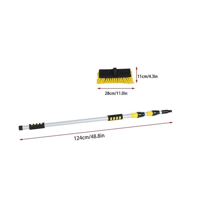 LKWs L/änge ca Alu-Teleskop-Waschb/ürste mit Wasseranschluss mit Verl/ängerungstab f/ür Autos 124 bis 300 cm Boote und Maschinen Binghotfire Autowaschb/ürste