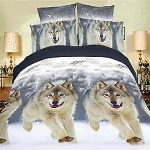 QQI Duvet Cover Set,High Quality 3D Cotton Bedding 4pcs Quilt Cover Sheets Pillowcase Single Double Bed Home Textiles