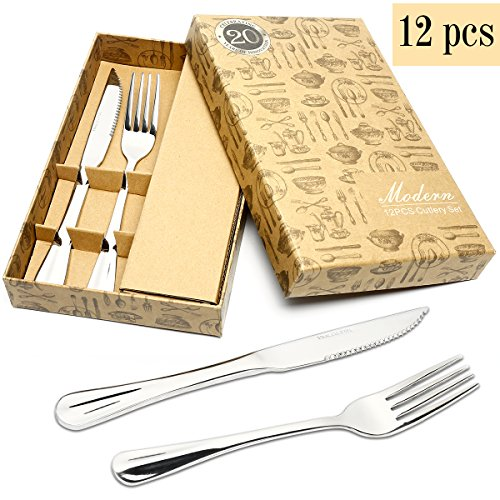 HOBO 12-Piece Stainless Steel Flatware Sets, Mirror Polishing Cutlery Sets, Delicate and Practical Tableware sets, Multipurpose Use for Home, Restaurant Tableware Utensil Sets