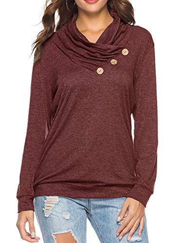 Sipaya Long Tunic Tops for Women Basic Casual Cowl Neck Button Tee Burgundy L ()