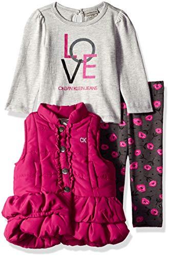Calvin Klein Baby Girls 3 Pieces Puffer Vest Set, Gray/Berry/Print 3-6 Months