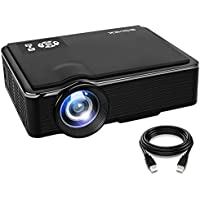 SOMEK Projector 2400 Lumens LED Mini 1080P Projector, Portable Movie Projector HDMI USB TF VGA AV, Multimedia Home Theater with HDMI Cable K99