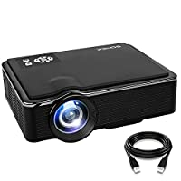SOMEK Projector 2400 Lumens LED Mini 1080P Projector, Portable Movie Projector HDMI USB TF VGA AV, Multimedia Home Theater with HDMI Cable K99(Black)