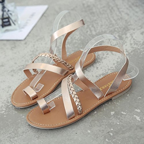 Shoes Summer Strappy Beach Flat Sandals WOCACHI Low Women Gold Flops Gladiator Rose Flip Heel BpnaqE5wCx