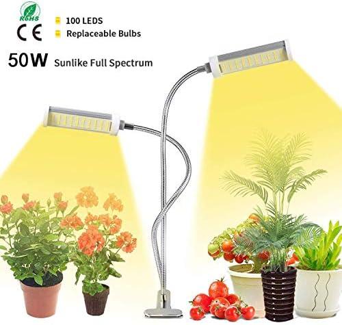 LED Pflanzenlampe , KagoLing 50W 100LEDS Wachsen Pflanzenlicht Vollspektrum Grow Lampe Pflanzenleuchte Verstellbarer Schwanenhals 3 Arten von Modus für Blumen Früchte Samen Sukkulenten