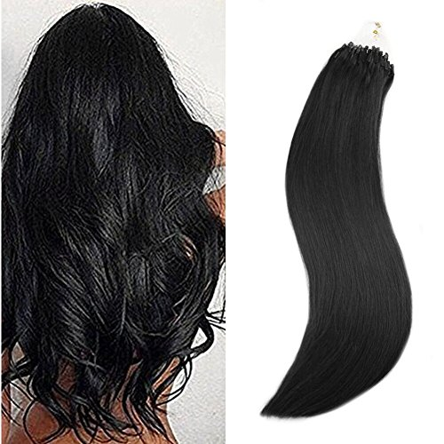Ugeat 24inch 1g/Strand Remy Microbead Hair Extension Remy Micro Loop Ring Link Human Hair Extensions 50 Strand 50 Gram Per Package jet Black Color 1 Real Human Hair