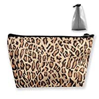 FJSLIE Indian Cheetah Print Women Makeup Bags Multi Function Toiletry Organizer Bags,Hand Portable Pouch Travel Wash Storage Capacity with Zipper(Trapezoidal)