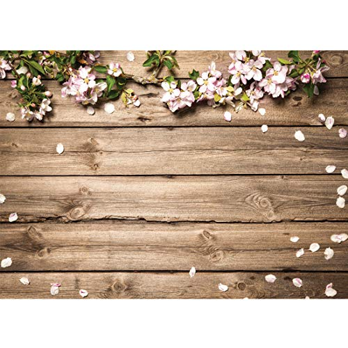 LYWYGG 7x5FT Spring Photography Backdrop Petals Wooden Plank Background for Birthday Party Newborn Studio Props ()