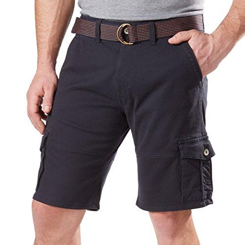 Weatherproof Vintage Mens Comfort Stretch Utility Cargo Shorts Adjustable Belt (38, Blue)