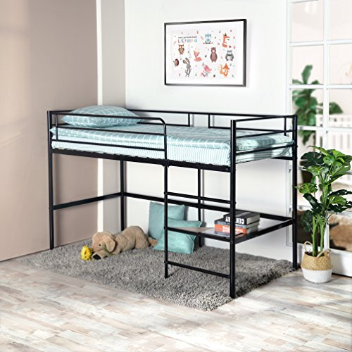 GreenForest Metal Loft Bed for Kids Twin Size Low Junior Bunk Bed Frame with Ladder and Shelf, Black (Low Ladder)