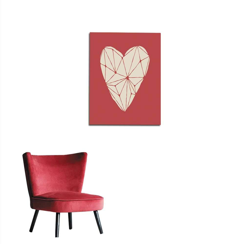 longbuyer Wall Paper Polygonal White Heart on The red Background Mural 16''x20''