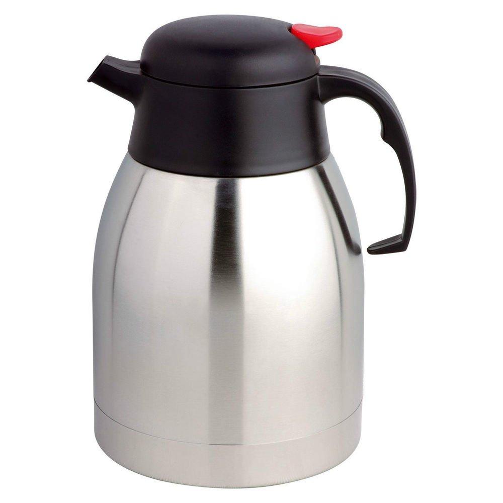 MP 2.0 Liter Tee Isolierkanne Kaffeekanne / Vacuum Teekanne , 18/10 Edelstahl, Quick Tip Verschluss, 100% dicht, Schwarz, Soft Grip - 2 L MP-Cologne