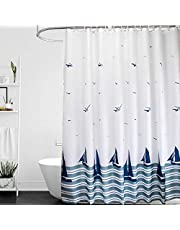 ORSJA Sailing Shower Curtain with Hooks, White Thick Bathroom Curtain with Weighted Hem - Mould Proof & Waterproof & Machine Wash
