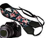 Pink roses with teal leafs camera strap. Flower camera strap. Black DSLR / SLR Camera Strap. Durable, light weight and well padded camera strap. code 00134