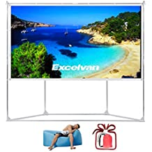 """Excelvan Outdoor Indoor Compatible Wrinkle-Free Portable Projector Screen With Trapezoid Base Stand With Transportable Bag for Installing Camping Outdoor Theater Movie, Gaming (100"""" 16:9)"""