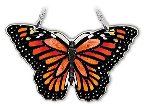 (Amia Small Monarch Butterfly, Hand-Painted Glass Suncatcher, 4-1/2 Inches Wide, 42322)