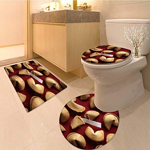 (MikiDa Bathroom Non-Slip Floor Mat fortune cookies on red background with white blank paper Machine-Washable)