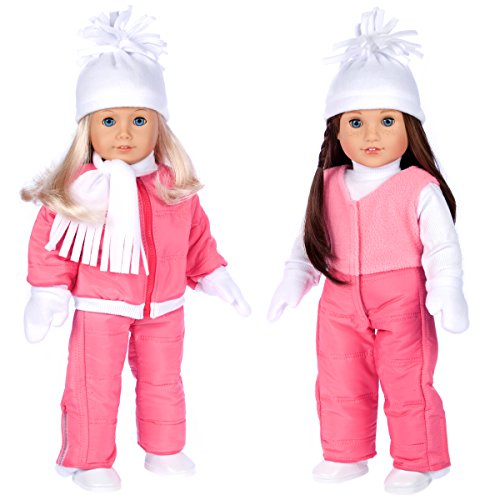 DreamWorld Collections - Let It Snow - 7 Piece Complete Snowsuit - Pink Snow Pants, Jacket, White Turtleneck, Hat, Scarf, Mittens and Boots - 18 Inch Doll Clothes (Doll Not Included) (American Girl Skiing)