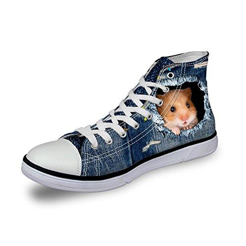 Sneakers Denim Top Shoes High HUGS Cute Dog Cat IDEA Canvas Print Hamster Women qpnHAxq