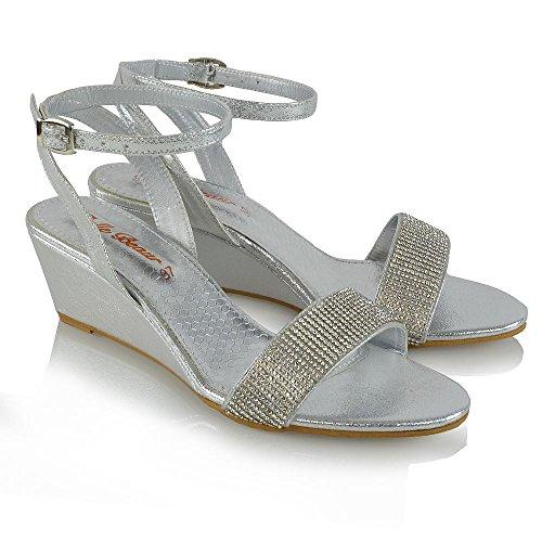 Sandali Con Zeppa In Essex Glam Donna Con Cinturino Alla Caviglia Con Strass Argento