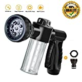 QSUBFPYK Garden hose nozzle/Hose nozzle heavy duty,Foam Nozzle,Water hose nozzle,High Pressure Nozzles,Gardening tools,8 Spray Patterns,Ideal for Car Wash,Cleaner,Watering Lawn and Pets (Black)