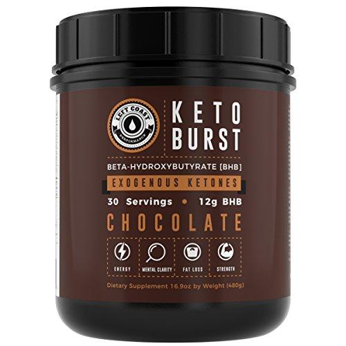 KETO BURST - Beta Hydroxybutyrate (BHB) Salt Ketone Supplement - DOUBLE SIZE 17 Oz (30 Servings) Chocolate - Exogenous Ketones Powder - Calcium, Sodium & Magnesium BHB salts. Left Coast(1.06 lbs)