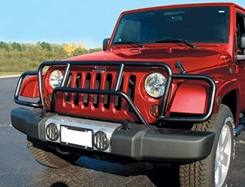 Fan Guard Grille (RealWheels RW300-3BP-J Black Powder Coated Stainless Steel Enforcer Grille Guard with Light Mounts (Jeep Wrangler))