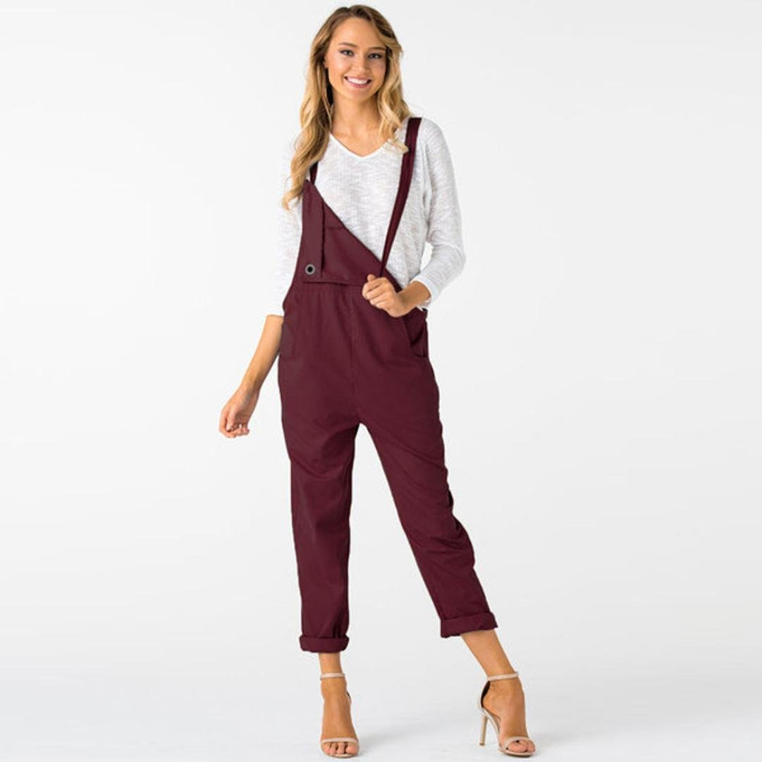 32aa287746b50 Amazon.com  Women Overalls Jumpers Pockets Jumpsuits Pants Romper Long Loose  Working Trousers Hemlock (M