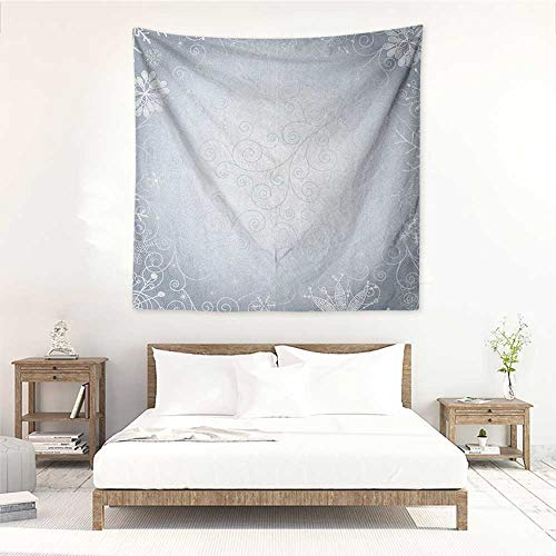 (Willsd Ombre DIY Tapestry Christmas Theme Gentle Frame with Curls Swirls Snowflakes Lace Inspired Motif Literary Small Fresh 47W x 47L INCH Pale Blue Coconut)