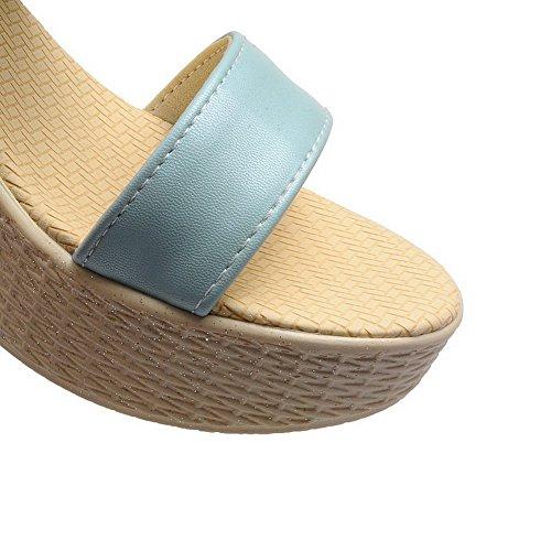 AllhqFashion Mujeres Cuero Colores Surtidos Hebilla Puntera Abierta Plataforma Sandalia Azul