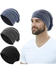 SATINIOR 3 Pieces Summer Slouchy Beanie Knit Slouchy Hat Soft Hip-Hop Stretchy Sleep Cap Unisex Skull Cap for Men Women, Black, Grey, Blue