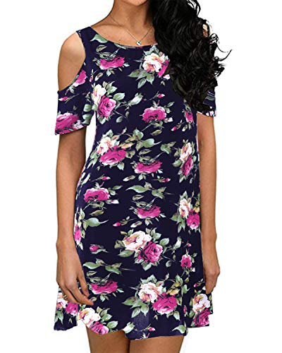 (ZANZEA Women's Summer Cold Shoulder Tunic Top Short Sleeve Floral Print Swing T-Shirt Loose Dress Navy 8)