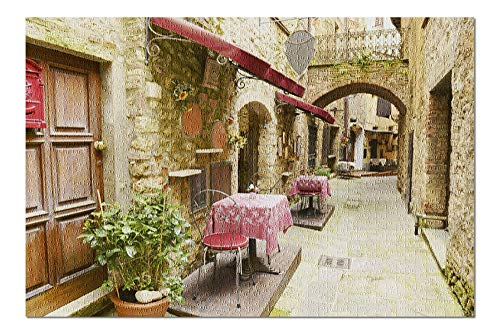 Tuscany, Italy - Alley Restaurant Seating - Photography A-92481 (20x30 Premium 1000 Piece Jigsaw Puzzle, Made in USA!)