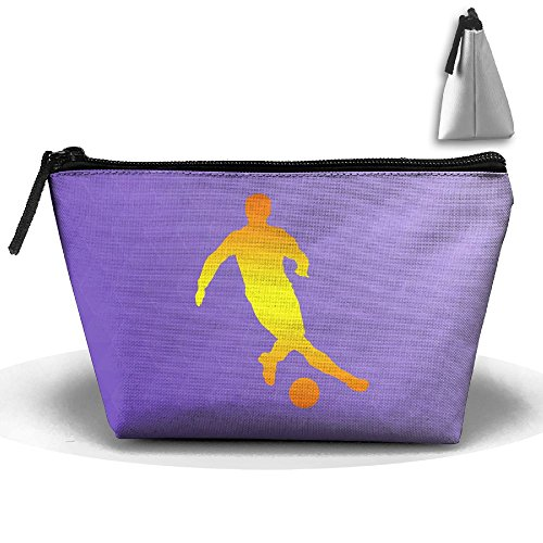 Trapezoid Portable Travel Toiletry Pouch Football Player Gold Cosmetic Bags Multifunction Clutch Bag