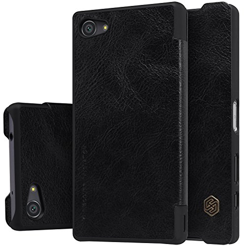 Xperia Z5 Compact Case , Suensan Leather Flip Elegance Cover Thin Case for Sony Xperia Z5 Compact /Mimi (Black)