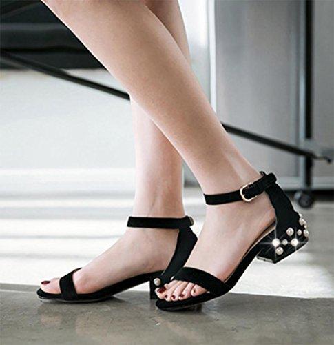 Sommer Sandalen dick mit weiblicher Perle Schnalle mit niedrigeren Absätzen Sandalen Black