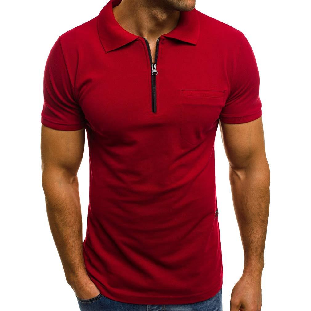 kunfang Camicia Tops da Uomo Manica Corta Casual Polo Cerniera Risvolto Maglietta con Tasche sul Petto Semplice Polo Bluse