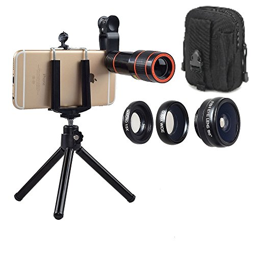 Mobile Cell Phone Camera Lens Kit: Constant 12x Zoom+Fisheye Lens+Wide Angle Lens+Macro Lens for Most Android Phones and iPhones. 4 in 1 Smartphone Cam Lens Kit + Bonus Pouch (Black)