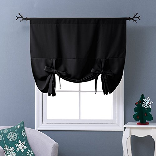 NICETOWN Thermal Insulated Blackout Curtain in Black - Tie Up Shade for Small Window (Rod Pocket Panel, 46