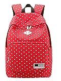 Dalino Lovely Girl's Backpack School Bag Canvas Travel Bag (Red)