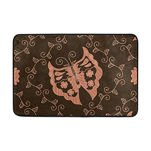Blue Viper Butterfly Batik Floral Non-Slip Doormat for Home Living Room Bathroom Kitchen Outdoor Outside Indoor Entrance Way Front Door 23.6 x 15.7 (Dotted Batik)