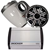 Kicker Marine Wake Tower System w/Silver 6.5 Speakers, 40KXM400.4 400 Watt Amplifier