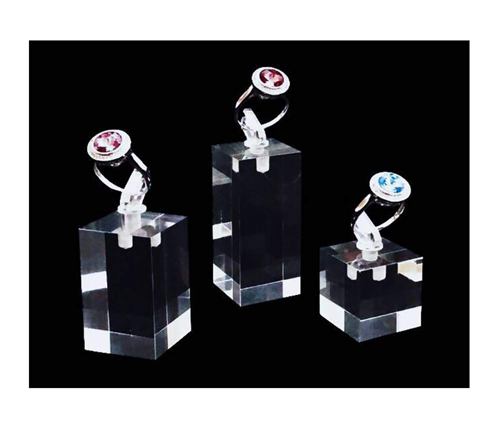 Modern Design Acrylic Ring Holder with Clip On Premium Quality Unique Design Clear Transparent Blocks Platform Jewelry Display Stands Trade Show Store Fine Exhibition Photography Set of 3 PCs