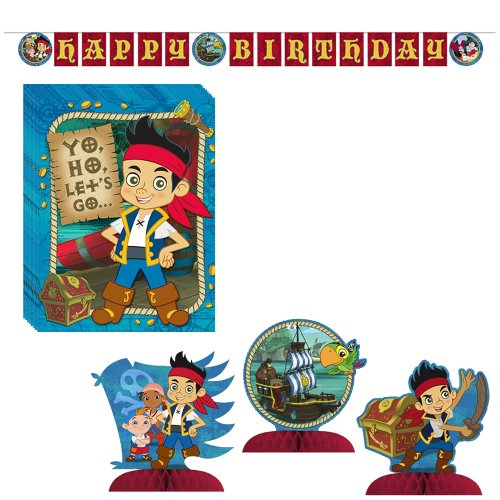 Jake & the Neverland Pirates Party Decorations Pack Including Invitations, Banner Plastic and Centerpiece.