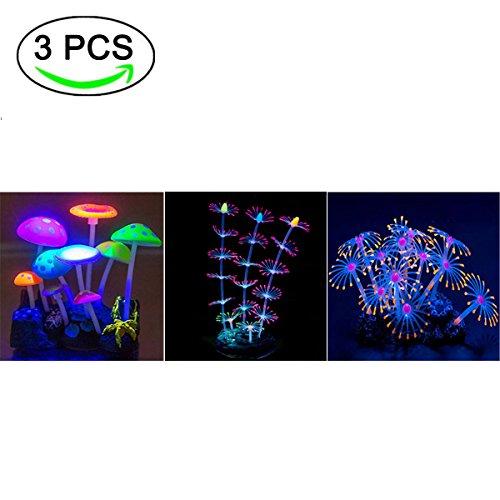 Yuxier fish tank glowing coral aquarium decor glowing mushroom ornament artificial coral (3 pieces)