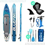 Bluefin SUP Inflatable Stand Up Paddle Board | Kayak Conversion Kit | All Accessories | Multiple sizes: Kids, 10'8, 12', 15' (Carbon 15')
