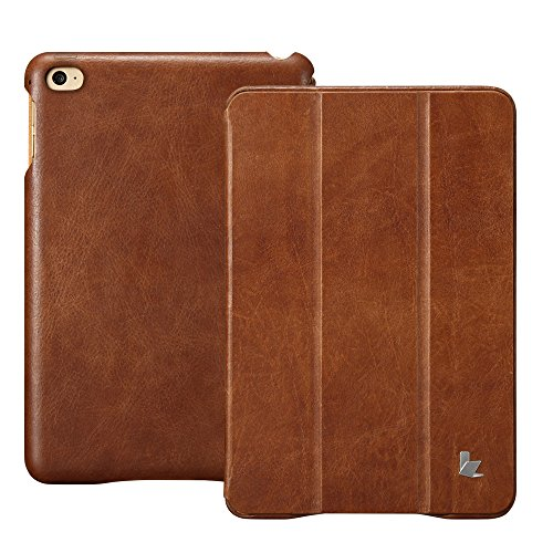 Jisoncase iPad Mini 4 Case, Leather Ultra Slim Smart-shell Stand Cover Case With Auto Wake/Sleep for Apple iPad Mini 4 (JS-IM4-01A) (Vintage Brown) by Jisoncase