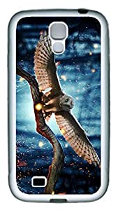 Brian114 Samsung Galaxy S4 Case, S4 Case - Slim Ultra Fit Soft Rubber Case for Samsung Galaxy S4 I9500 Beautiful Owl Popular Design White Back Cover for Samsung Galaxy S4 I9500